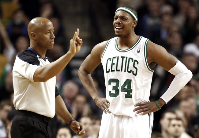 Apr 3, 2013; Boston, MA, USA; Boston Celtics small forward Paul Pierce (34) is called for a foul during the fourth quarter of Boston's 98-93 win over the Detroit Pistons in an NBA game at TD Garden. Mandatory Credit: Winslow Townson-USA TODAY Sports