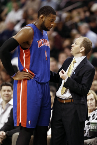 Apr 3, 2013; Boston, MA, USA; Detroit Pistons head coach Lawrence Frank talks with center Andre Drummond during the first quarter of an NBA game against the Boston Celtics. Mandatory Credit: Winslow Townson-USA TODAY Sports