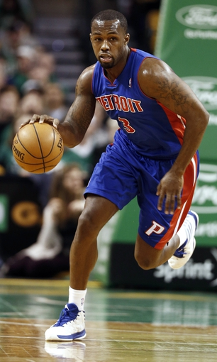 Apr 3, 2013; Boston, MA, USA; Detroit Pistons point guard Rodney Stuckey dribbles the ball up the court against the Boston Celtics during the first quarter of an NBA game. Mandatory Credit: Winslow Townson-USA TODAY Sports