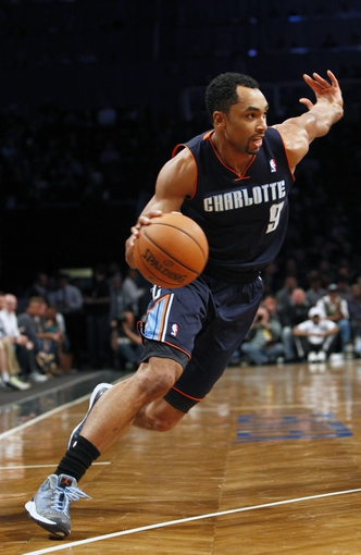 Apr 6, 2013; Brooklyn, NY, USA; Charlotte Bobcats guard Gerald Henderson (9) drives to the basket against Brooklyn Nets in the first quarter at Barclays Center at Barclays Center. Mandatory Credit: Nicole Sweet-USA TODAY Sports