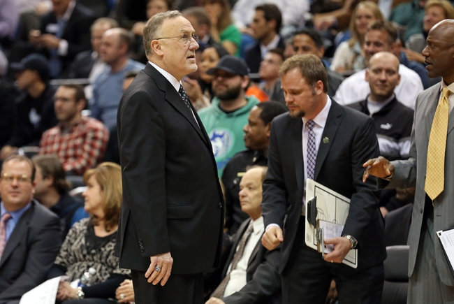 Apr 6, 2013; Minneapolis, MN, USA; Minnesota Timberwolves head coach Rick Adelman looks to the scoreboard in the second half against the Detroit Pistons at Target Center. The Timberwolves won 107-101. Mandatory Credit: Jesse Johnson-USA TODAY Sports