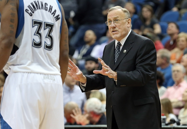 Apr 6, 2013; Minneapolis, MN, USA; Minnesota Timberwolves head coach Rick Adelman  talks to his players after a timeout in the second half against the Detroit Pistons at Target Center. The Timberwolves won 107-101. Mandatory Credit: Jesse Johnson-USA TODAY Sports