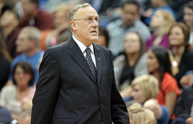 Apr 6, 2013; Minneapolis, MN, USA; Minnesota Timberwolves head coach Rick Adelman looks on during the second half against the Detroit Pistons at Target Center. The Timberwolves won 107-101. Mandatory Credit: Jesse Johnson-USA TODAY Sports