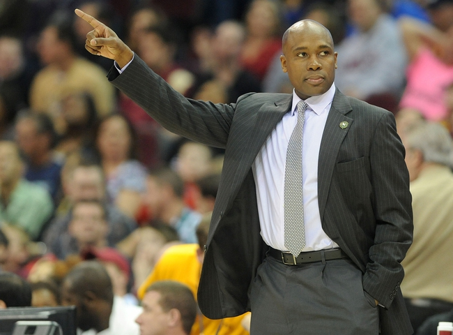 Apr 7, 2013; Cleveland, OH, USA; Orlando Magic head coach Jacque Vaughn motions during the game against the Cleveland Cavaliers at Quicken Loans Arena. Mandatory Credit: Eric P. Mull-USA TODAY Sports