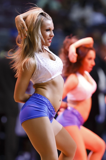 April 7, 2013; Auburn Hills, MI, USA; Detroit Pistons dancer performs during a timeout in the third quarter against the Chicago Bulls at The Palace. Mandatory Credit: Rick Osentoski-USA TODAY Sports