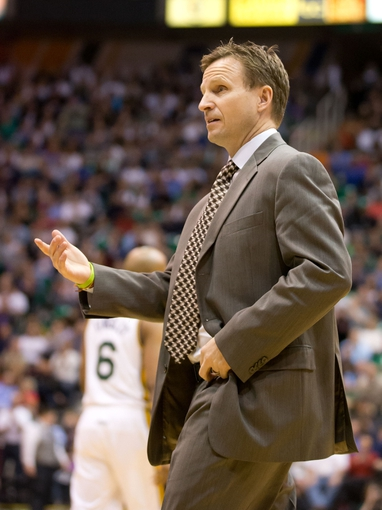 Apr 9, 2013; Salt Lake City, UT, USA; Oklahoma City Thunder head coach Scott Brooks reacts to a call during the first half against the Utah Jazz at EnergySolutions Arena. Mandatory Credit: Russ Isabella-USA TODAY Sports