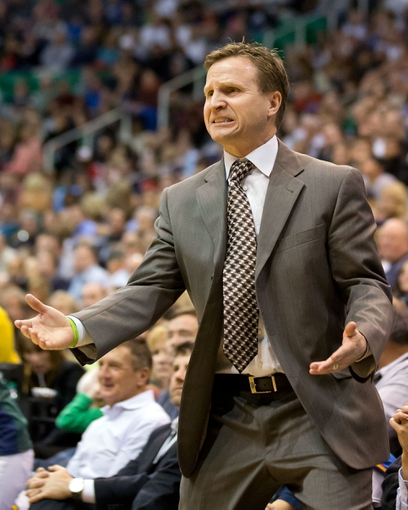 Apr 9, 2013; Salt Lake City, UT, USA; Oklahoma City Thunder head coach Scott Brooks reacts during the second half against the Utah Jazz at EnergySolutions Arena. The Thunder won 90-80. Mandatory Credit: Russ Isabella-USA TODAY Sports