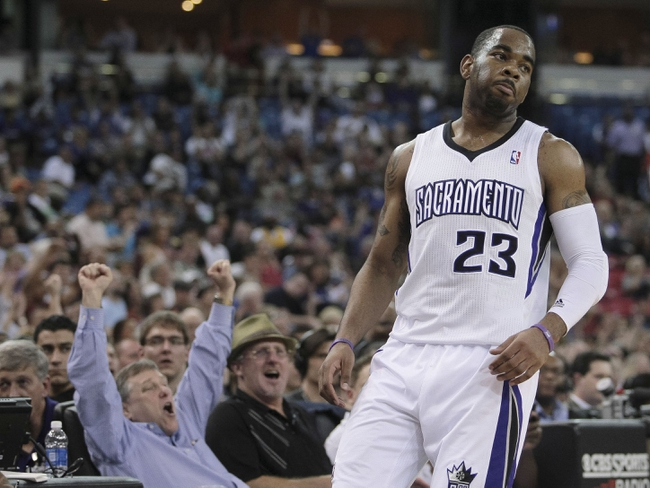 April 10, 2013; Sacramento, CA, USA; Sacramento Kings fan celebrates after shooting guard Marcus Thornton (23) scores a three point basket against the New Orleans Hornets during the second quarter at Sleep Train Arena. Mandatory Credit: Kelley L Cox-USA TODAY Sports