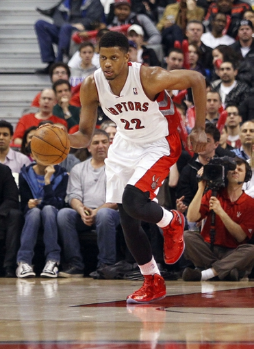 Apr 12, 2013; Toronto, Ontario, CAN; Toronto Raptors forward Rudy Gay (22) carries the ball against the Chicago Bulls at the Air Canada Centre. Toronto defeated Chicago 97-88. Mandatory Credit: John E. Sokolowski-USA TODAY Sports