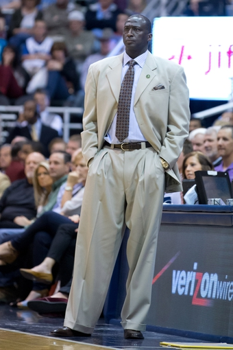 Apr 12, 2013; Salt Lake City, UT, USA; Utah Jazz head coach Tyrone Corbin watches the action during the first half against the Minnesota Timberwolves at EnergySolutions Arena. Mandatory Credit: Russ Isabella-USA TODAY Sports