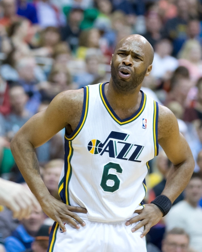 Apr 12, 2013; Salt Lake City, UT, USA; Utah Jazz point guard Jamaal Tinsley (6) reacts to a call during the first half against the Minnesota Timberwolves at EnergySolutions Arena. Mandatory Credit: Russ Isabella-USA TODAY Sports