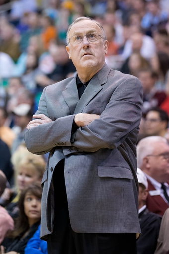 Apr 12, 2013; Salt Lake City, UT, USA; Minnesota Timberwolves head coach Rick Adelman during the first half against the Utah Jazz at EnergySolutions Arena. Mandatory Credit: Russ Isabella-USA TODAY Sports