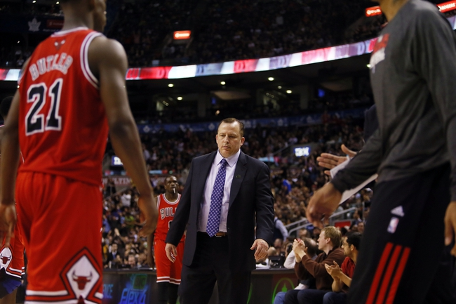 Apr 12, 2013; Toronto, Ontario, CAN; Chicago Bulls head coach Tom Thibodeau during a break in the action against the Toronto Raptors at the Air Canada Centre. Toronto defeated Chicago 97-88. Mandatory Credit: John E. Sokolowski-USA TODAY Sports