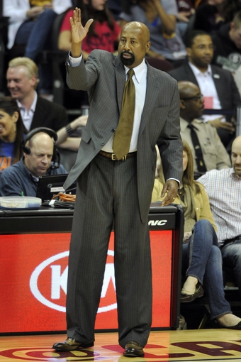 Apr 12, 2013; Cleveland, OH, USA; New York Knicks head coach Mike Woodson on the side line in the fourth quarter against the Cleveland Cavaliers at Quicken Loans Arena. Mandatory Credit: David Richard-USA TODAY Sports