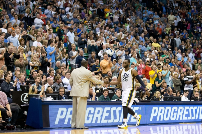 Apr 12, 2013; Salt Lake City, UT, USA; Utah Jazz center Al Jefferson (25) leaves the game after scoring 40 points to defeat the Minnesota Timberwolves 107-100 at EnergySolutions Arena. Mandatory Credit: Russ Isabella-USA TODAY Sports
