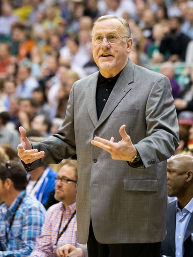 Apr 12, 2013; Salt Lake City, UT, USA; Minnesota Timberwolves head coach Rick Adelman reacts during the second half against the Utah Jazz at EnergySolutions Arena. The Jazz won 107-100. Mandatory Credit: Russ Isabella-USA TODAY Sports
