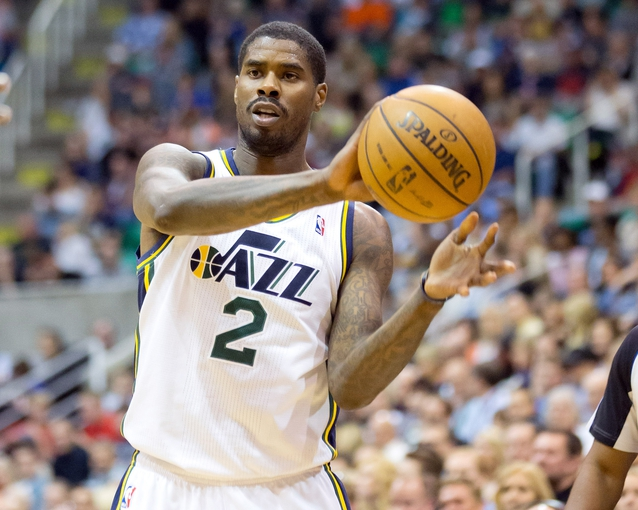 Apr 12, 2013; Salt Lake City, UT, USA; Utah Jazz power forward Marvin Williams (2) looks to pass during the second half against the Minnesota Timberwolves at EnergySolutions Arena. The Jazz won 107-100. Mandatory Credit: Russ Isabella-USA TODAY Sports