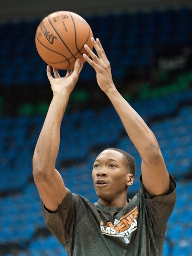 Apr 13, 2013; Minneapolis, MN, USA; Phoenix Suns small forward Wesley Johnson (2) warms up before playing the Minnesota Timberwolves at Target Center. Mandatory Credit:  Greg Smith-USA TODAY Sports