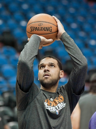 Apr 13, 2013; Minneapolis, MN, USA; Phoenix Suns shooting guard Jared Dudley (3) warms up before playing the Minnesota Timberwolves at Target Center. Mandatory Credit:  Greg Smith-USA TODAY Sports