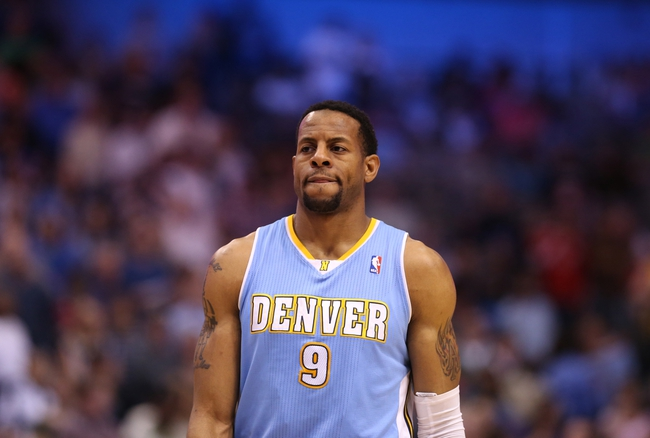 April 12, 2013; Dallas, TX, USA; Denver Nuggets guard Andre Iguodala (9) during the game against the Dallas Mavericks at the American Airlines Center. Mandatory Credit: Matthew Emmons-USA TODAY Sports