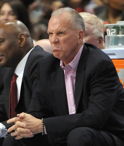 Apr 14, 2013; Philadelphia, PA, USA; Philadelphia 76ers head coach Doug Collins watches from the bench during the fourth quarter at the Wells Fargo Center. The 76ers defeated the Cavaliers, 91-77. Mandatory Credit: Eric Hartline-USA TODAY Sports