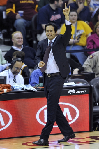 Apr 15, 2013; Cleveland, OH, USA; Miami Heat head coach Erik Spoelstra calls a play in the second quarter against the Cleveland Cavaliers at Quicken Loans Arena. Mandatory Credit: David Richard-USA TODAY Sports