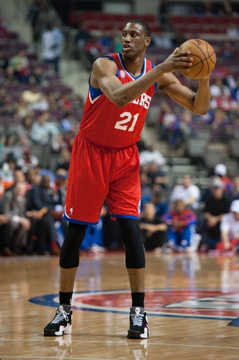 April 15, 2013; Auburn Hills, MI, USA; Philadelphia 76ers small forward Thaddeus Young (21) during the first quarter against the Detroit Pistons at The Palace. Mandatory Credit: Tim Fuller-USA TODAY Sports
