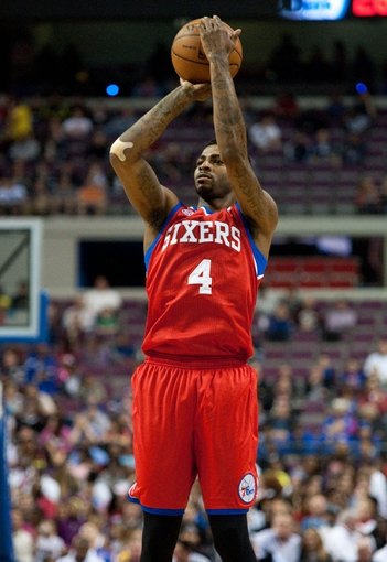 April 15, 2013; Auburn Hills, MI, USA; Philadelphia 76ers small forward Dorell Wright (4) shoots during the second quarter against the Detroit Pistons at The Palace. Mandatory Credit: Tim Fuller-USA TODAY Sports