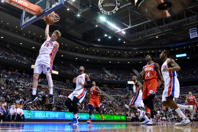 April 15, 2013; Auburn Hills, MI, USA; Detroit Pistons shooting guard Kyle Singler (25) dunks during the third quarter against the Philadelphia 76ers at The Palace. Detroit won 109-101. Mandatory Credit: Tim Fuller-USA TODAY Sports