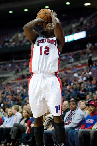 April 15, 2013; Auburn Hills, MI, USA; Detroit Pistons point guard Will Bynum (12) shoots during the fourth quarter against the Philadelphia 76ers at The Palace. Detroit won 109-101. Mandatory Credit: Tim Fuller-USA TODAY Sports