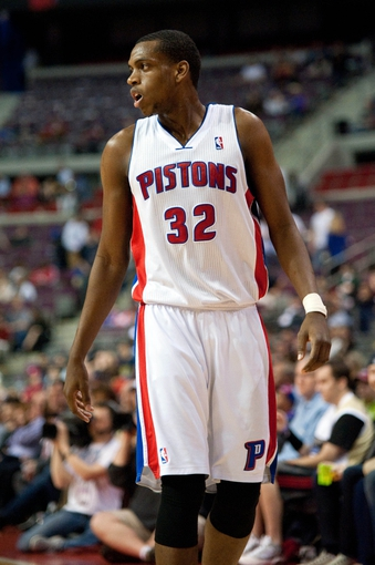 April 15, 2013; Auburn Hills, MI, USA; Detroit Pistons small forward Khris Middleton (32) reacts during the fourth quarter against the Philadelphia 76ers at The Palace. Detroit won 109-101. Mandatory Credit: Tim Fuller-USA TODAY Sports