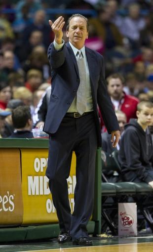 Apr 15, 2013; Milwaukee, WI, USA;  Milwaukee Bucks head coach Jim Boylan signals during the third quarter against the Denver Nuggets at the BMO Harris Bradley Center.  Mandatory Credit: Jeff Hanisch-USA TODAY Sports