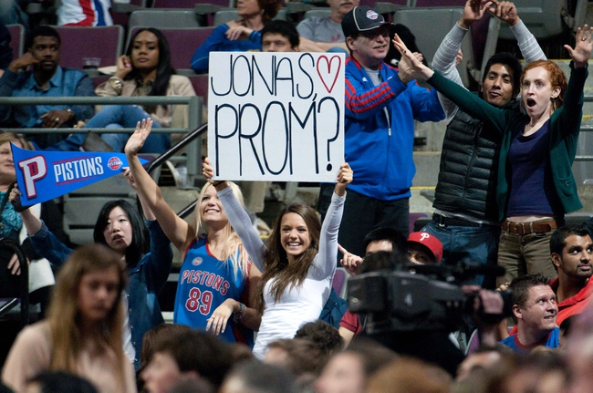April 15, 2013; Auburn Hills, MI, USA; Fans hold a sign for Detroit Pistons power forward Jonas Jerebko (not pictured) during the game against the Philadelphia 76ers at The Palace. Detroit won 109-101. Mandatory Credit: Tim Fuller-USA TODAY Sports