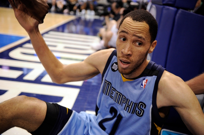 Apr 15, 2013; Dallas, TX, USA; Memphis Grizzlies small forward Tayshaun Prince (21) argues with a photographer during the second half against the Dallas Mavericks at the American Airlines Center. The Grizzlies defeated the Mavericks 103-97. Mandatory Credit: Jerome Miron-USA TODAY Sports