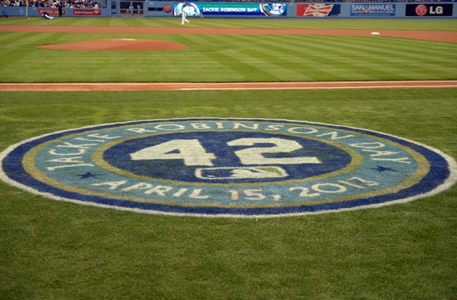 Apr 15, 2013; Los Angeles, CA, USA; General view of the logo commemorating Jackie Robinson day during the MLB game between the San Diego Padres and the Los Angeles Dodgers at Dodger Stadium. Mandatory Credit: Kirby Lee-USA TODAY Sports