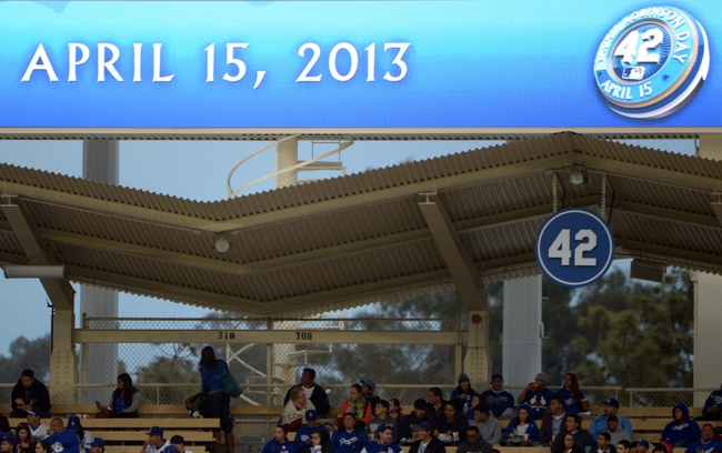 Apr 15, 2013; Los Angeles, CA, USA; General view of the logo commemorating Jackie Robinson day and retired No. 42 in the right field pavilion during the MLB game between the San Diego Padres and the Los Angeles Dodgers at Dodger Stadium. Mandatory Credit: Kirby Lee-USA TODAY Sports