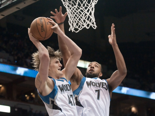 Apr 15, 2013; Minneapolis, MN, USA; Minnesota Timberwolves small forward Andrei Kirilenko (47) and power forward Derrick Williams (7) rebound against the Utah Jazz in the fourth quarter at Target Center. The Jazz won 96-80. Mandatory Credit:  Greg Smith-USA TODAY Sports