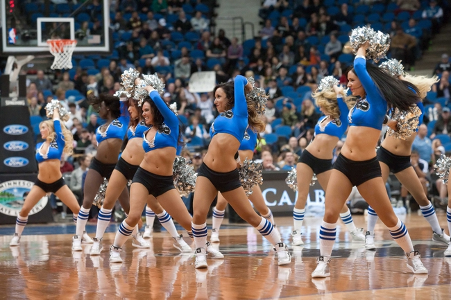 Apr 15, 2013; Minneapolis, MN, USA; Minnesota Timberwolves dancers perform in the fourth quarter against the Utah Jazz at Target Center. The Jazz won 96-80. Mandatory Credit:  Greg Smith-USA TODAY Sports