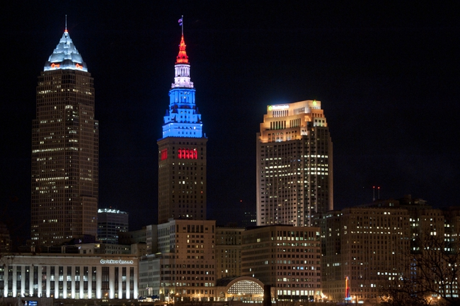 Apr 15, 2013; Cleveland, OH, USA; The Terminal Tower in Cleveland was lit red, white and blue during a game between the Cleveland Cavaliers and the Miami Heat at Quicken Loans Arena to show support after the explosions at the Boston Marathon earlier in the day. Mandatory Credit: David Richard-USA TODAY Sports