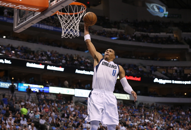 Apr 17, 2013; Dallas, TX, USA; Dallas Mavericks forward Shawn Marion (0) dunks on fast break in the first quarter against the New Orleans Hornets at American Airlines Center. Mandatory Credit: Matthew Emmons-USA TODAY Sports