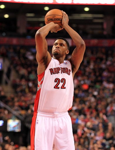 Apr 17, 2013; Toronto, Ontario, CAN; Toronto Raptors small forward Rudy Gay (22) takes a foul shot against the Boston Celtics during the third quarter at the Air Canada Centre. The Raptors beat the Celtics 114-90. Mandatory Credit: Kevin Hoffman-USA TODAY Sports