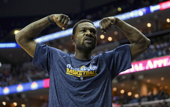 Apr 17, 2013; Memphis, TN, USA;  Memphis Grizzlies shooting guard Tony Allen (9) flexes during the game against the Utah Jazz at FedEx Forum.  The Memphis Grizzlies defeated the Utah Jazz 86-70.  Mandatory Credit: Spruce Derden   USA TODAY Sports