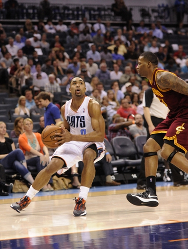 April 17, 2013; Charlotte, NC, USA; Charlotte Bobcats guard Gerald Henderson (9) looks to shoot during the game against the Cleveland Cavaliers at Time Warner Cable Arena. Bobcats win 105-98. Mandatory Credit: Sam Sharpe-USA TODAY Sports