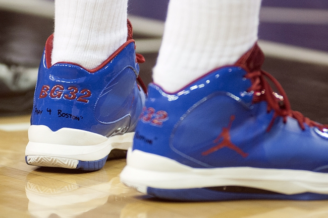 "Apr 17, 2013; Sacramento, CA, USA; Los Angeles Clippers power forward Blake Griffin (32) has ""Pray 4 Boston"" written on his shoes during the game against the Sacramento Kings at the Sleep Train Arena. Mandatory Credit: Ed Szczepanski-USA TODAY Sports"
