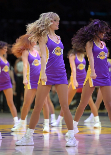 Apr 17, 2013; Los Angeles, CA, USA; Los Angeles Lakers girls cheerleaders perform during the game against the Houston Rockets at the Staples Center.  Mandatory Credit: Kirby Lee-USA TODAY Sports