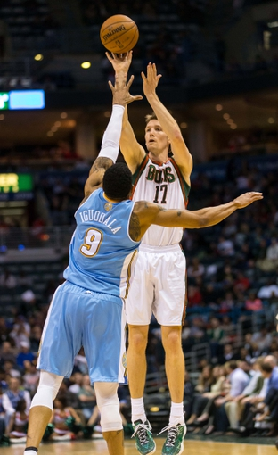 Apr 15, 2013; Milwaukee, WI, USA;  Milwaukee Bucks forward Mike Dunleavy (17) during the game against the Denver Nuggets at the BMO Harris Bradley Center.  Denver won 112-111.  Mandatory Credit: Jeff Hanisch-USA TODAY Sports