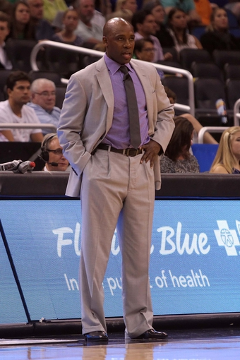 Apr 13, 2013; Orlando, FL, USA; Orlando Magic head coach Jacque Vaughn against the Boston Celtics during the second quarter at the Amway Center. Mandatory Credit: Kim Klement-USA TODAY Sports