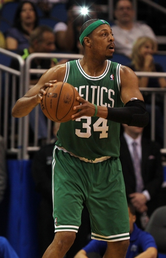 Apr 13, 2013; Orlando, FL, USA; Boston Celtics small forward Paul Pierce (34) against the Orlando Magic during the second half at the Amway Center. Boston Celtics defeated the Orlando Magic 120-88. Mandatory Credit: Kim Klement-USA TODAY Sports