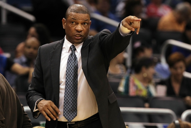 Apr 13, 2013; Orlando, FL, USA; Boston Celtics head coach Doc Rivers against the Orlando Magic during the second quarter at the Amway Center. Mandatory Credit: Kim Klement-USA TODAY Sports