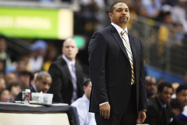Apr 20, 2013; Denver, CO, USA; Golden State Warriors head coach Mark Jackson reacts during the second half of game one of the first round of the 2013 NBA Playoffs against the Golden State Warriors at the Pepsi Center. The Nuggets won 97-95.  Mandatory Credit: Chris Humphreys-USA TODAY Sports